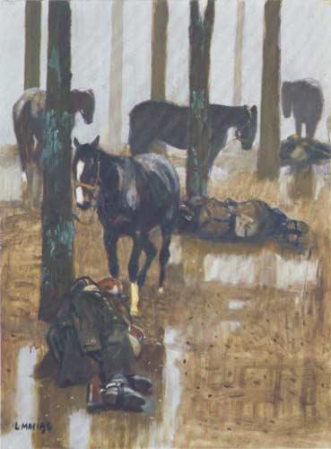 Deszcz, 1990, akryl/olej-płótno, 54x73, wł. prywatna