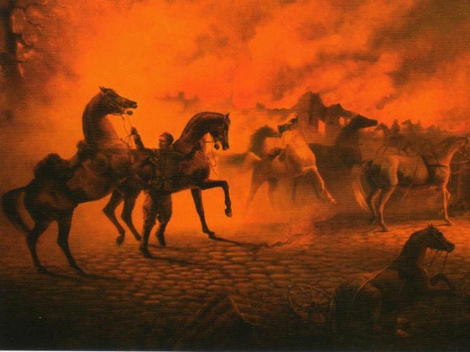 Witraż i Wielki Szlem w płonącym Dreźnie, obraz autorstwa J.A. Wear