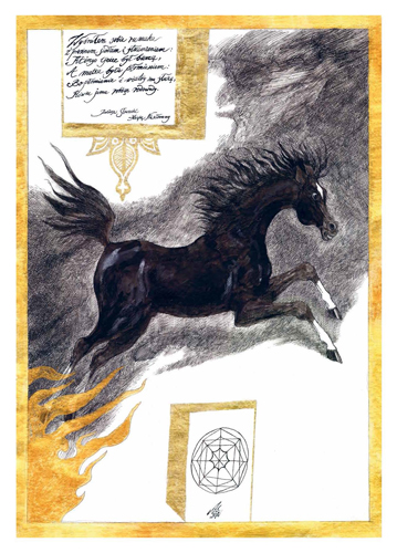 A work from the bibliophile portfolio containing facsimile reproductions of illustrations by Andrzej Strumiłło depicting Arabian horses (Edyta Wittchen publishing house)