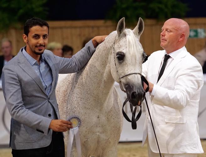 Norma, z lewej Fahad Abunaief (Al Muawd Stud), z prawej prezenter Ryan Jones, fot. Krzysztof Dużyński