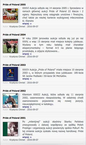 Relacje z pierwszych aukcji Pride of Poland uzupełnione