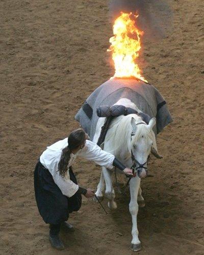 Zawody w Poczerninie: płonące konie