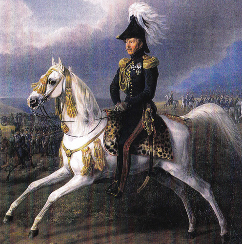 William I of Württemberg with Bairactar, painted by Albrecht Adam, archive photo