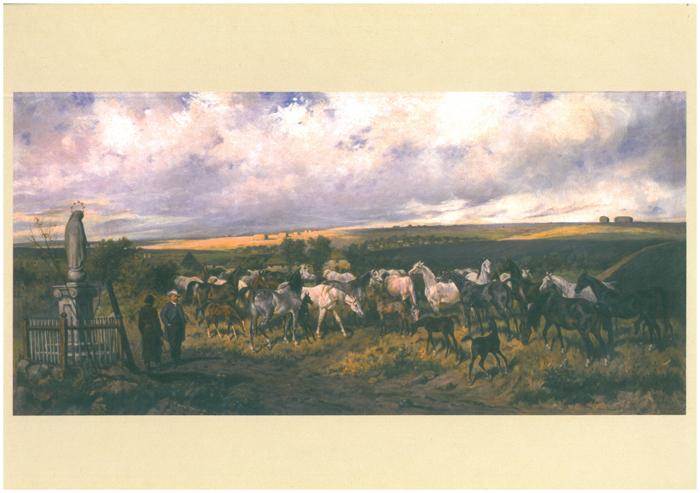 Tabun koni. Stadnina Dionizego Trzeciaka (1879), pocztówka