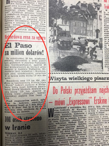 The news in the Express Wieczorny daily tabloid about selling El Paso (22.09.1981)