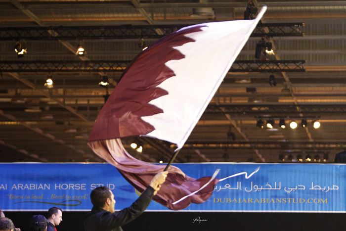 Qatari flag in Paris Nord Villepinte, by Riyan Rivero