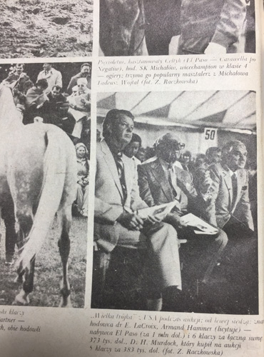 Armand Hammer seating between other prominent buyers, Eugene LaCroix and David H. Murdock. Photo from the Koń Polski magazine No 4/1981
