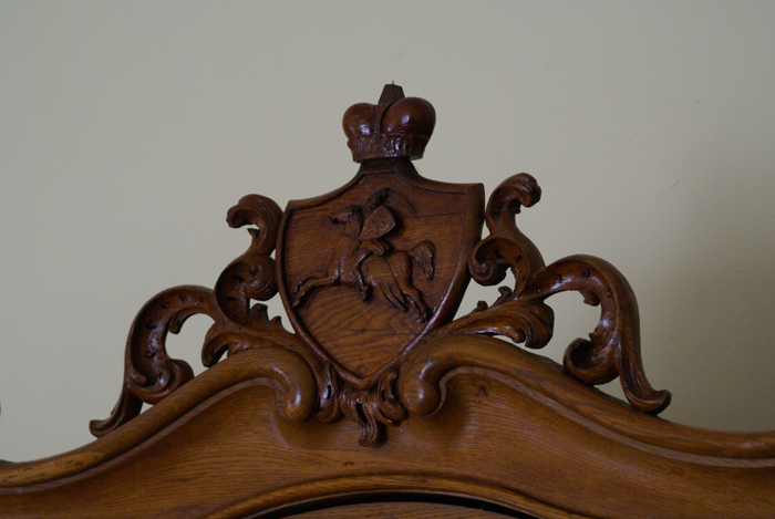The Sanguszkos coat of arms - Pogoń Litewska. One of the few pieces of furniture of the Sanguszkos remained in the palace in Gumniska. By Krzysztof Dużyński