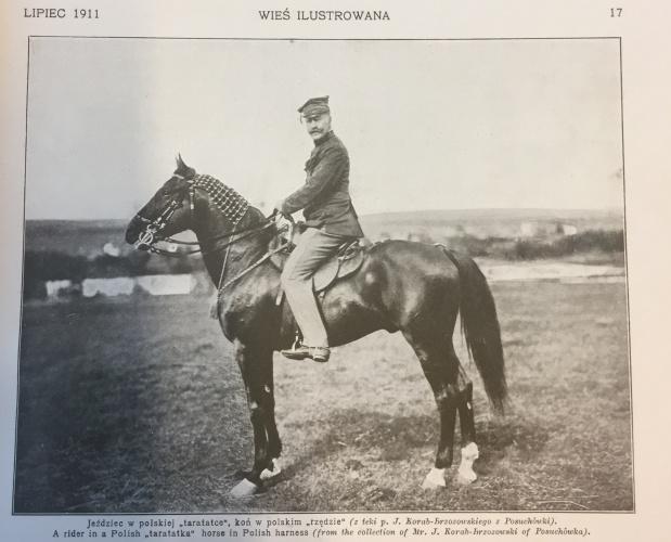 Jeździec w polskiej taratatce i koń w polskim rzędzie, Wieś ilustrowana, lipiec 1911