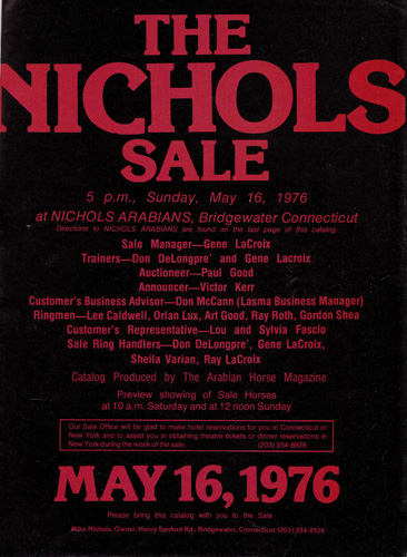 The cover of the Mike Nichols' auction '76