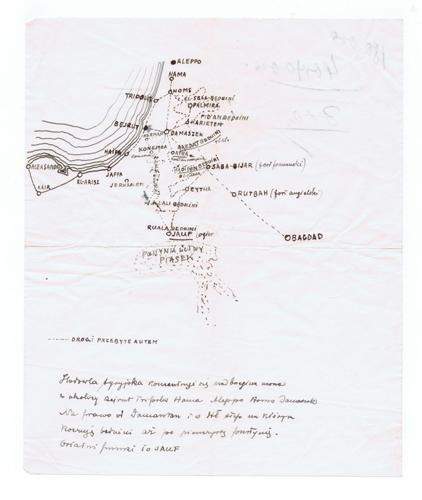 Własnoręcznie wyrysowana mapka dołączona do listu Bogdana Ziętarskiego
