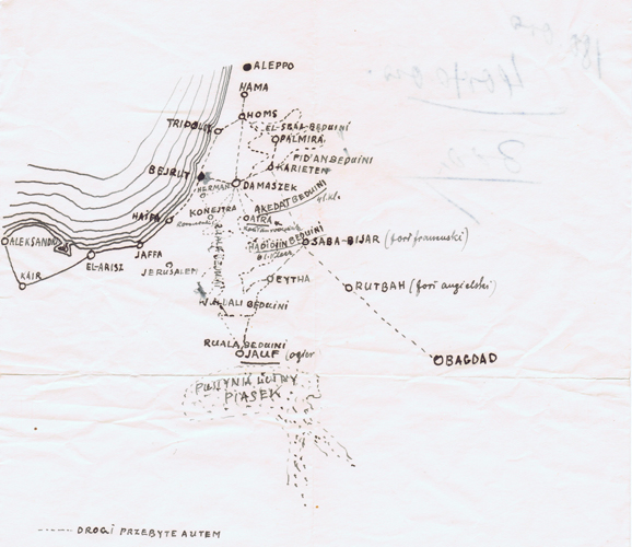 The map added by Ziętarski to his letter to Prince Roman Sanguszko