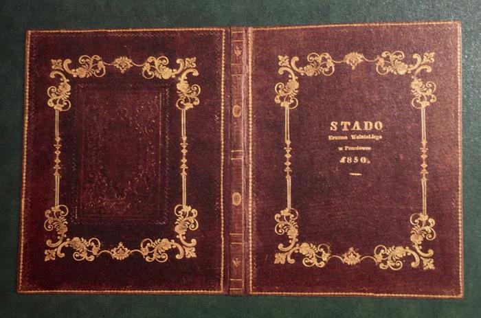 Obwoluta serii 12 kart – opisów koni ze stada Erazma Wolańskiego w Pauszówce (1850)