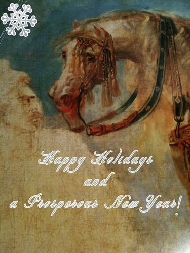 On the postcard: an Arabian horse by Antoine Jean Gros (1806)