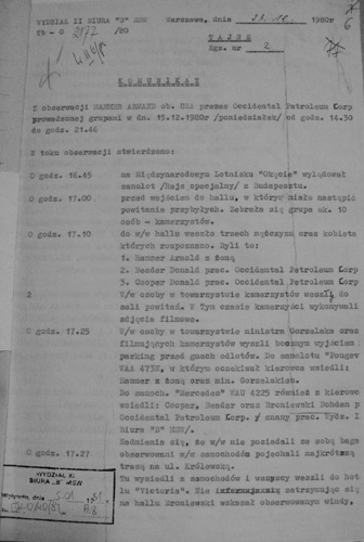A page from the reports of the Dept II Office B of the Ministry of Internal Affairs about the visit of Armand Hammer in Poland