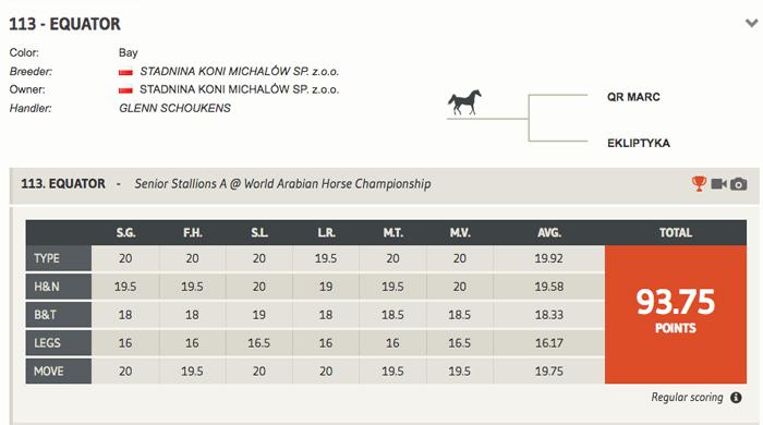Czempionat Świata w Paryżu - rywalizacja w klasach. Equator z drugą najwyższą notą pokazu i nagrodą za najlepszy ruch wśród ogierów