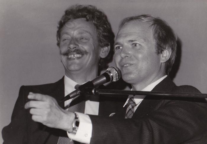 Marek Grzybowski z Jerzym Milczarkiem, kierownikiem Działu Koni w Animexie. Fot. z archiwum Marka Grzybowskiego