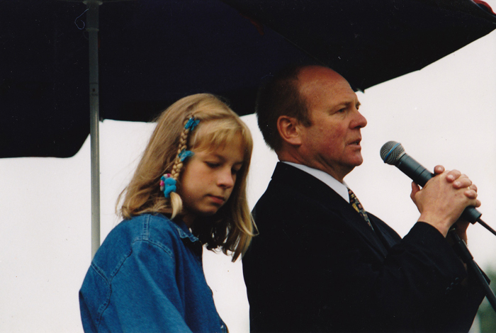Marek Grzybowski with his daughter Marta at the Polish Prestige Sale 1997. Photo from Marek Grzybowski's home archive