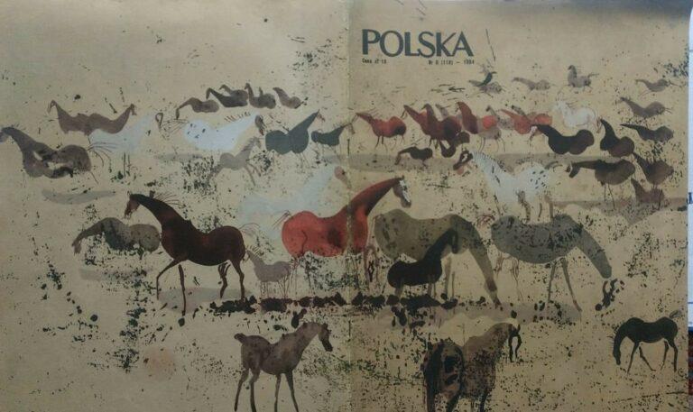 Janowskie stado na okładce magazynu Polska, pędzla Józefa Wilkonia, 1954