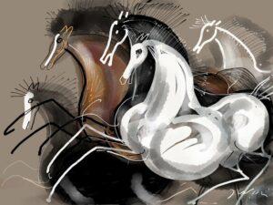 Herd of horses, by Józef Wilkoń (2017)