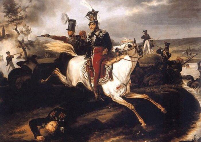 Death of the Prince Józef Poniatowski in the Battle of Leipzig, author: January Suchodolski (1830), source: Wikimedia