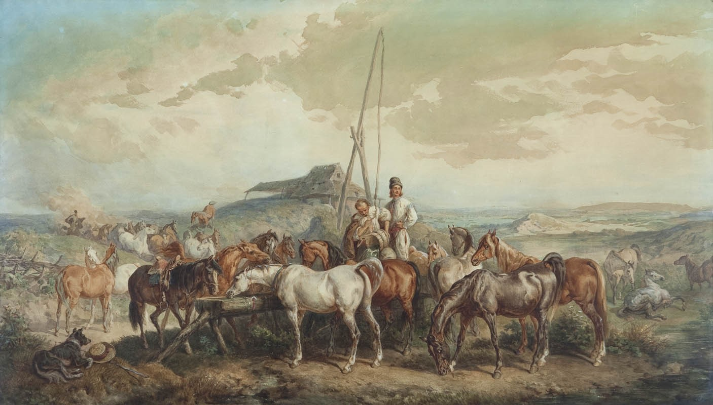 Stadnina przy wodopoju, pędzla Juliusza Kossaka, 1857 r.