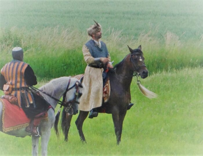 Krzysztof Czarnota w trakcie nagrywania filmu Chocim 1621, fot. archiwum